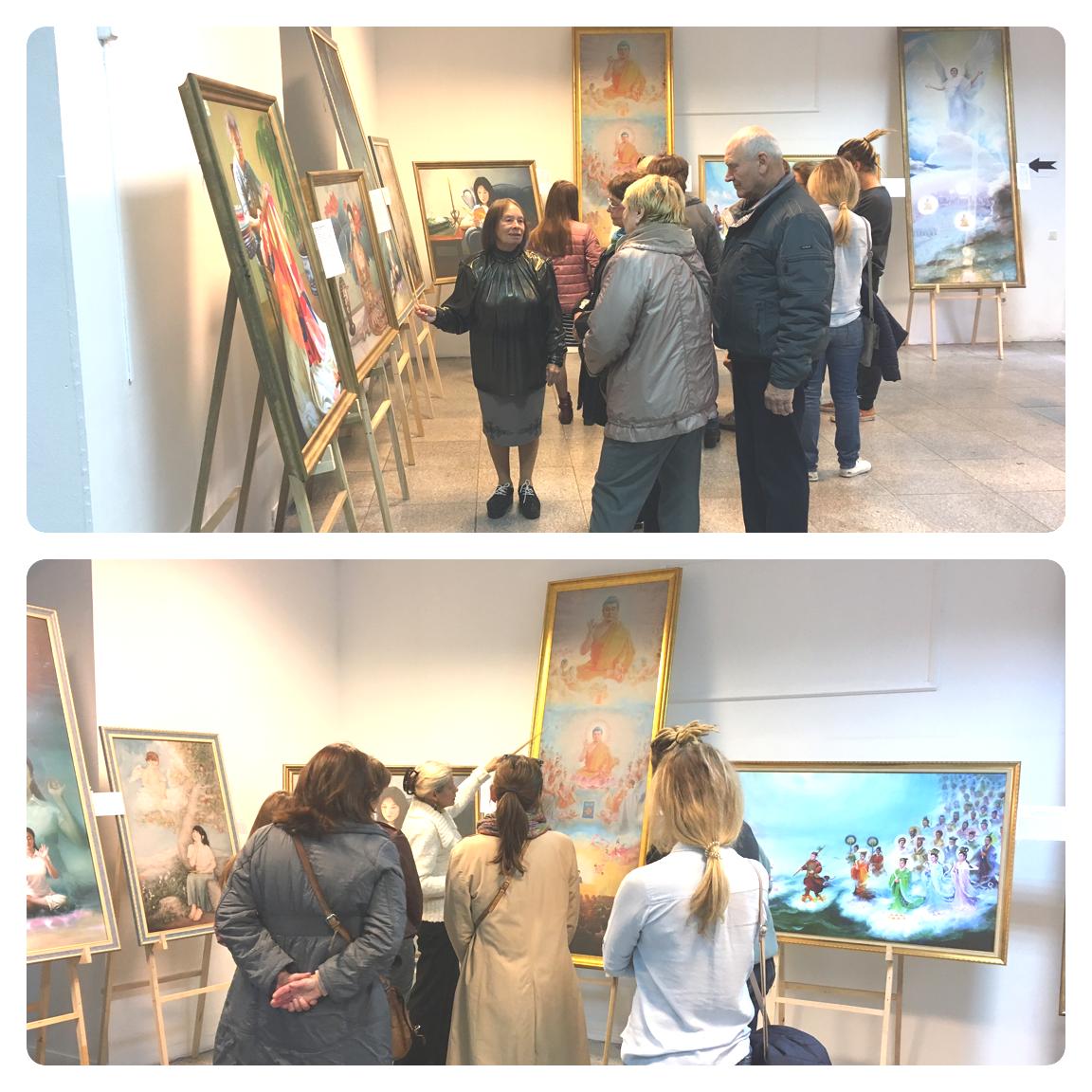 Гіди розповіли відвідувачам виставки про внутрішній зміст картин