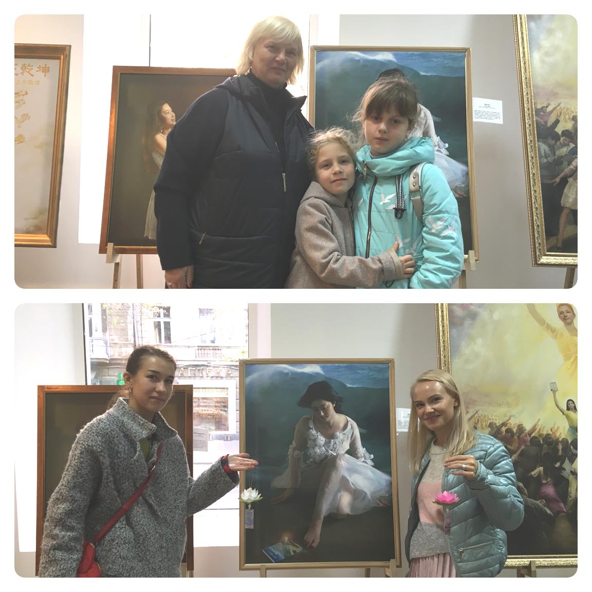 Відвідувачі виставки: Людмила з онукою Богданою (в центрі) та її подругою Танею (праворуч); Ніна (ліворуч) з подругою Іриною (праворуч)